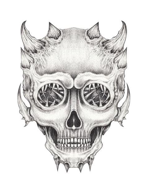 Art Skull Devil Tattoo Stock Illustration