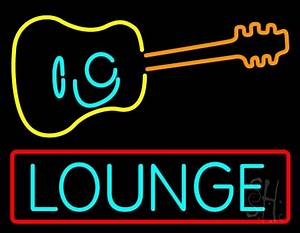 Lounge With Guitar Neon Sign