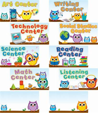 Center Signs Bulletin Board Owls Classroom Owl