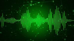 Animated audio sound waveform spectrum, sound waves on ...