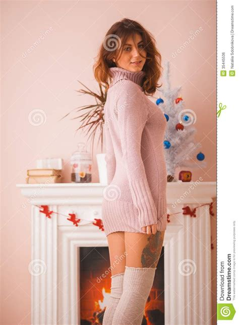 Hot Girl At Home In Christmas Time Royalty Free Stock Image - Image: 35445536