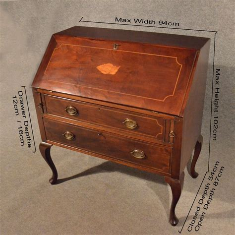 Antique Bureau Writing Study Desk Quality Mahogany