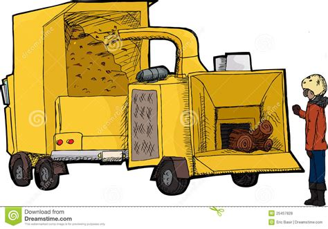 worker  wood chipper stock vector illustration