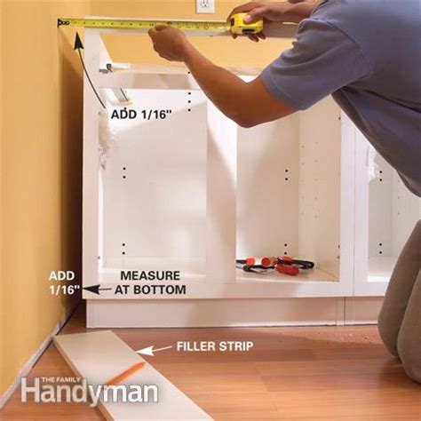 how to install a cabinet filler installing kitchen cabinets the family handyman