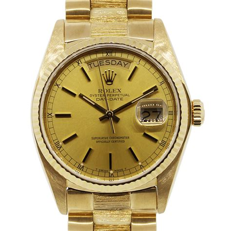 bvlgari ring rolex day date presidential 18k yellow gold