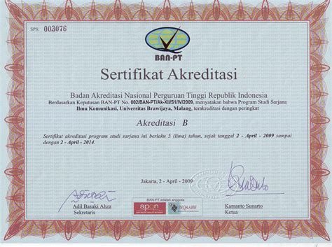 Contoh Surat Akreditasi Perguruan Tinggi Cpns by Sertifikat Akreditasi Komunikasi Ub