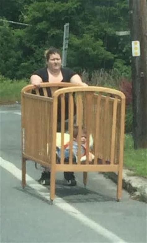 baby  walmart pushing crib   street