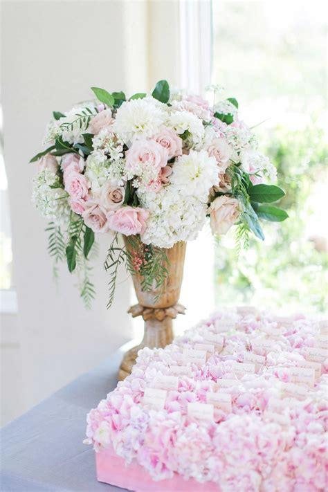 reception decor  pink white flower arrangement