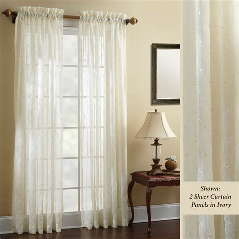 sheer curtain panels croscill hammond embroidered sheer curtain panels