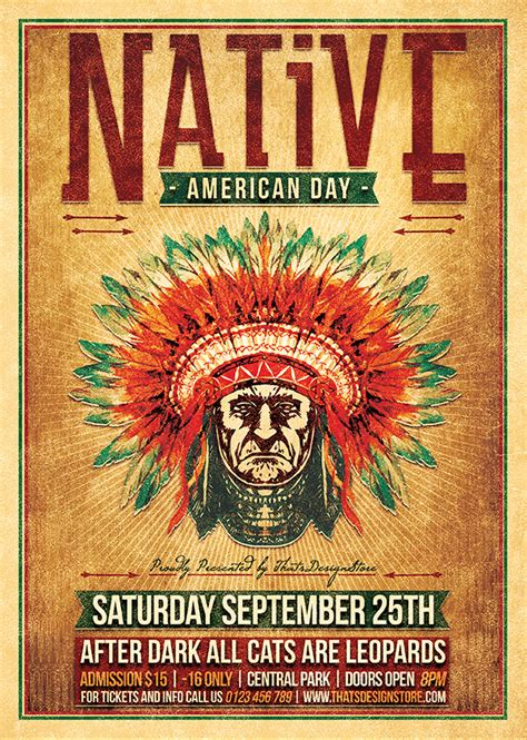 native american day flyer template  behance