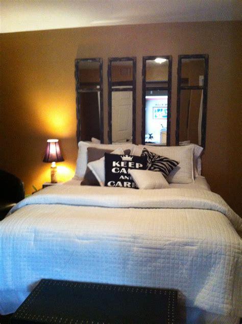 guest bedroom idea mirrored headboard mirror