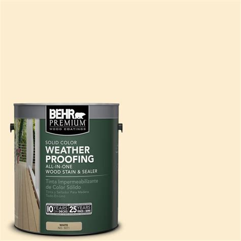 behr premium 1 gal sc 157 navajo white solid color weatherproofing all in one stain and