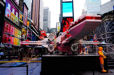 massive star wars lego  wing  landed  times square