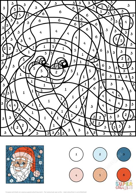 santa claus pictures to color santa claus color by number free printable coloring pages