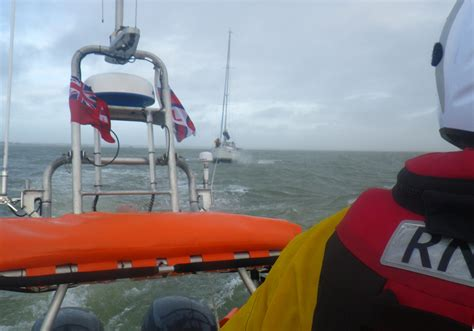 Yacht Lifeboat by Yachting Family Encounters Trouble Cowes Lifeboat