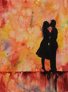 Watercolor painting of silhouette of couple kissing in ...
