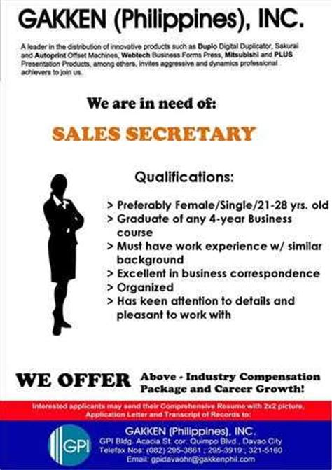 sle of resume with 2x2 picture sales for immediate hiring offered from davao adpost classifieds