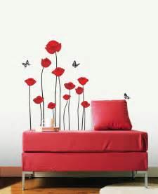 red poppies flower wall stickers wallstickery com