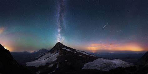 mountains snow stars meteors sunset milky  night