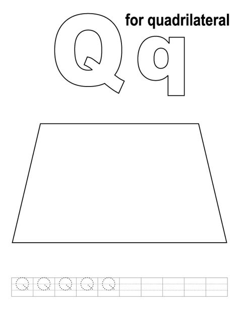 Coloring Quadrilaterals by Q For Quadrilateral Coloring Page With Handwriting