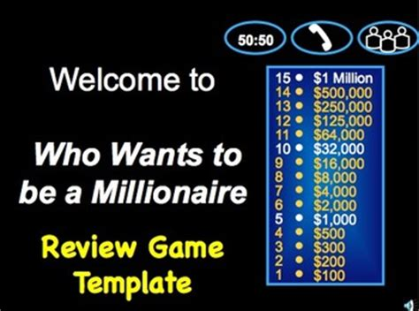Who Wants To Be A Millionaire? Class Review Game Template