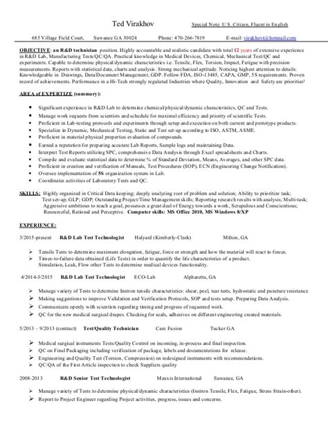 lab technologist resume 28 images laboratory