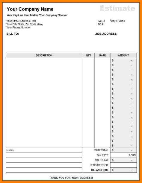 7 free construction estimate template pdf ledger review