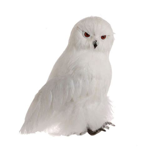 8 quot white fuzzy feather standing owl christmas ornament