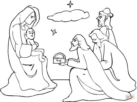 Three Wise Men Came To See Jesus Coloring Page Free