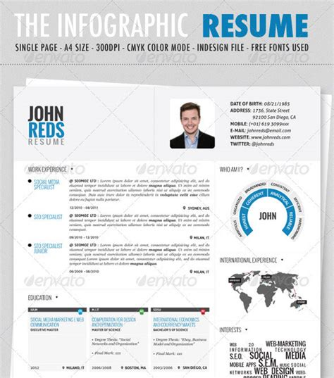 Free Infographic Resume Template by Minimalist Resume Template Word Studio Design