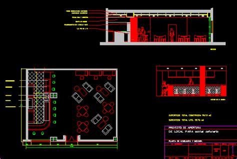 coffee bar dwg section  autocad designs cad