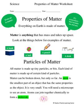 properties of matter worksheet by family 2 family learning