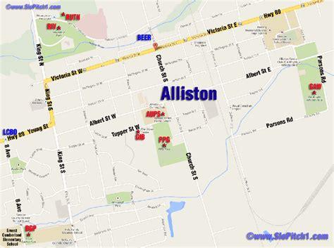 Alliston - Map of Parks & Diamonds