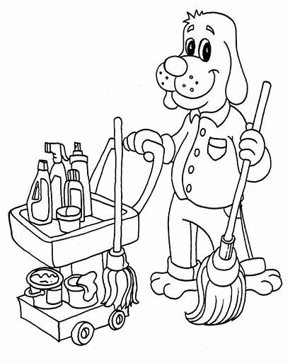 Coloring Pages Cleaning Cleaner Clean Supplies Printable