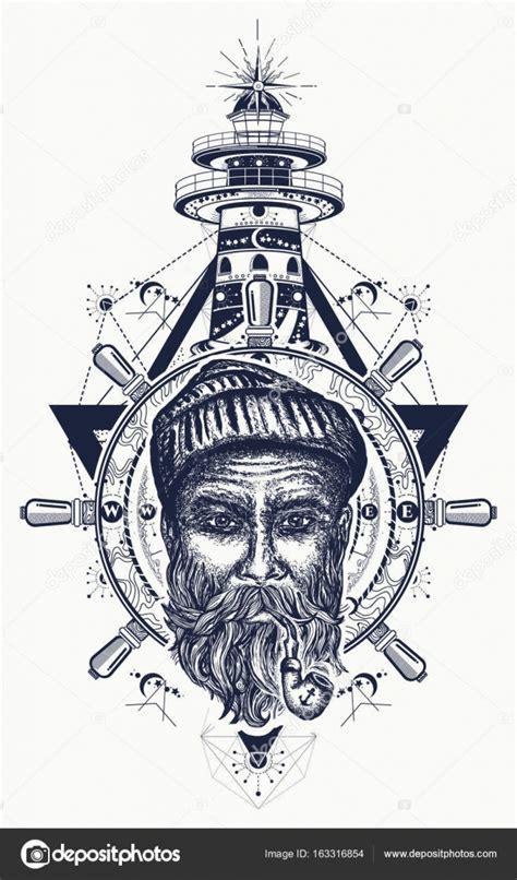 vieux marin ancre volant boussole phare tatouage