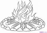 Campfire Coloring Colouring Draw Step Drawings Fire Camp Line Adult sketch template