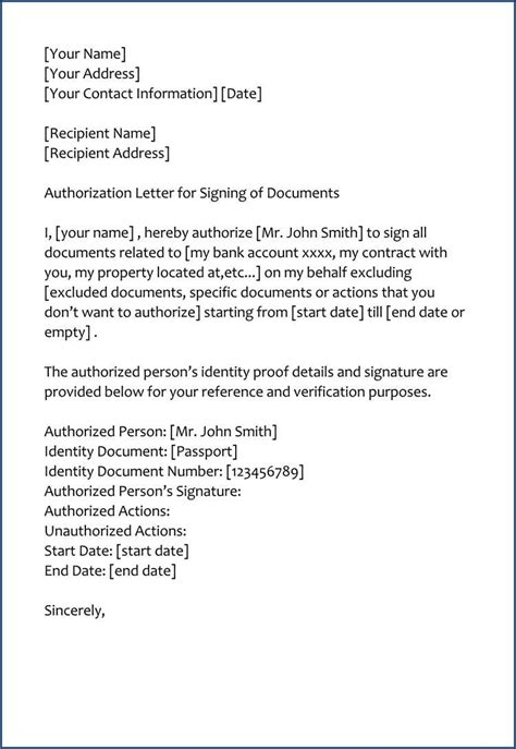 authorization letter  signing documents