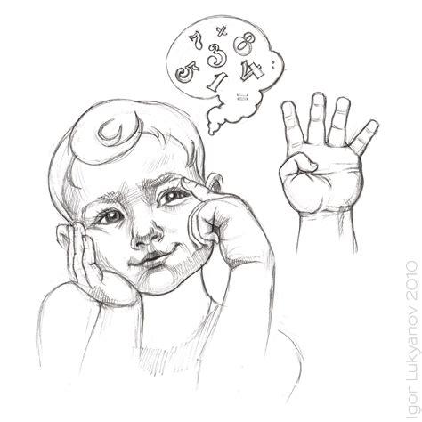thinking boy sketch
