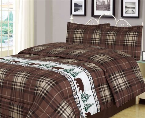 rustic comforter sets king or king plaid comforter set rustic