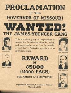 James-Younger Gang Wanted Poster