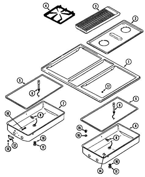 jenn air cooktop parts jenn air gas cooktop burner box parts model cg205w