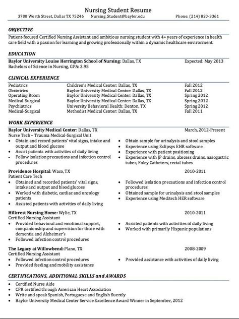Resume Exles For Nursing Students by Pin By Sr Max On