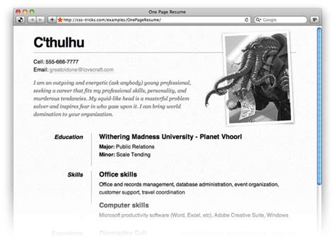 page resume site css tricks