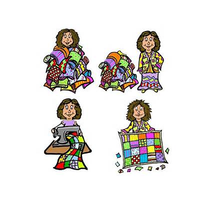 Quilt Sewing Clipart Quilter Drawing Funny Clipartmag