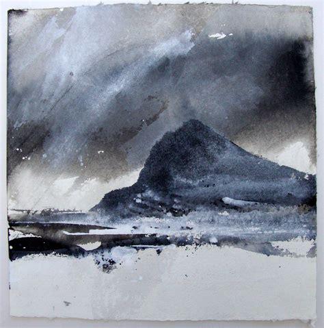 David Ross Dumbarton Rock Ink On Khadi Paper