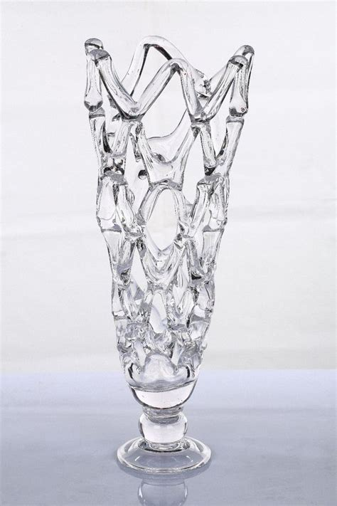 new 19 quot large blown glass clear web vase