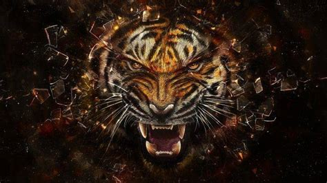 abstract tiger animals digital art shattered
