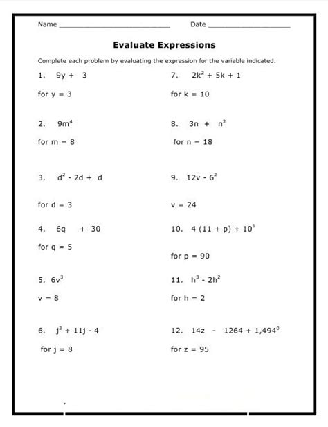 8th Grade Math Worksheets Problems Practice Printable  Calendar Template Letter Format