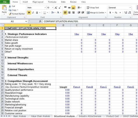 situational analysis template competitive analysis exle template excel tmp