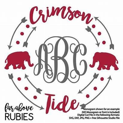 Tide Alabama Cricut Monogram Vinyl Crimson Silhouette